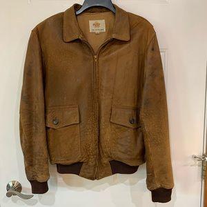 Vintage Golden Bear Brown Leather Bomber Jacket 40